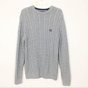 Chaps Men's Gray Crew Neck Cable Knit Sweater L